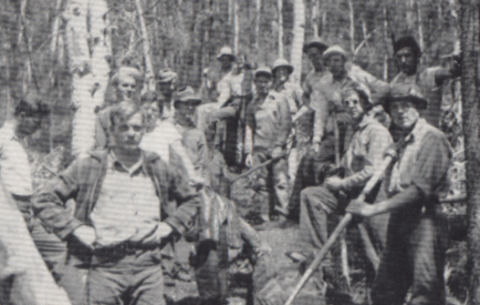 A crowd of men standing in the woods - they are firefighters.