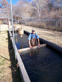 Photograph of Adam at a fish hatchery.
