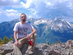 Photograph of Aaron in the Rocky Mountains