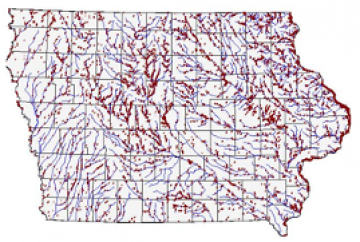 Map of stream channels and watersheds in Iowa