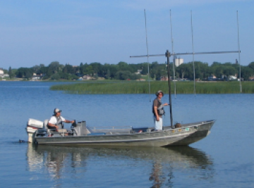 Two men riding a boat on Clear Lake