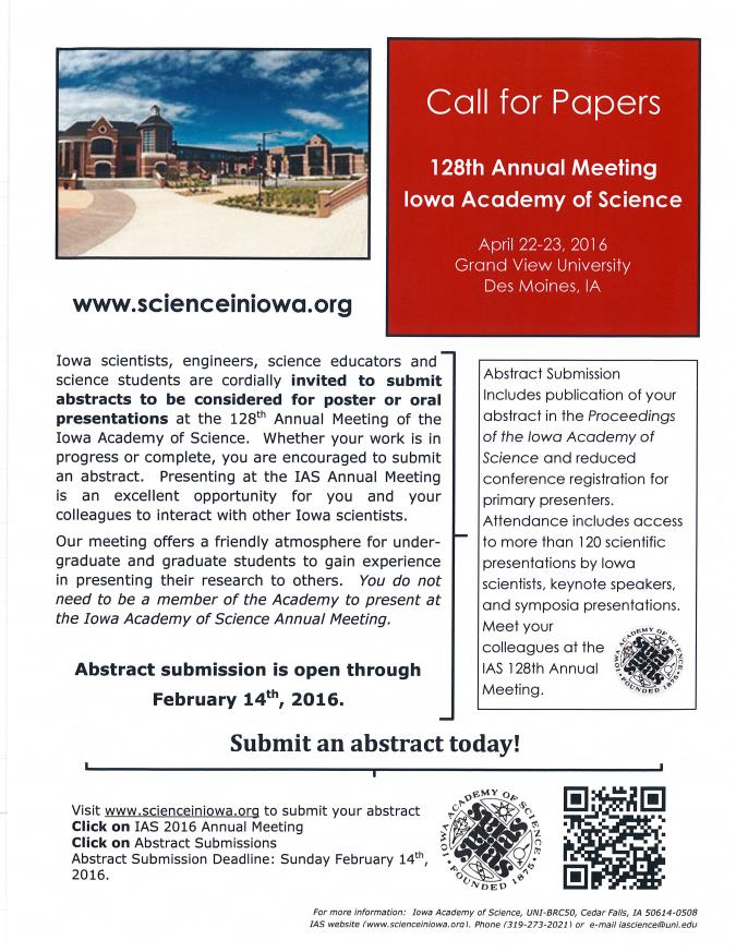 Iowa Academy of Science Call for Abstracts flyer