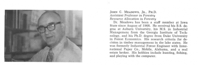Short Biography from 1973 Ames Forester Volume 60