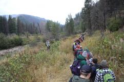 Students hiking in mountains