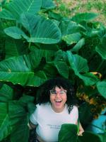 Ambar in the middle of a group of Malanga plants