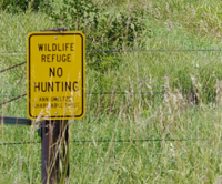 No Hunting sign for PLUS lab