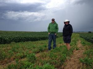 Image of farmer and farm land owner standing in an establishing prairie strip